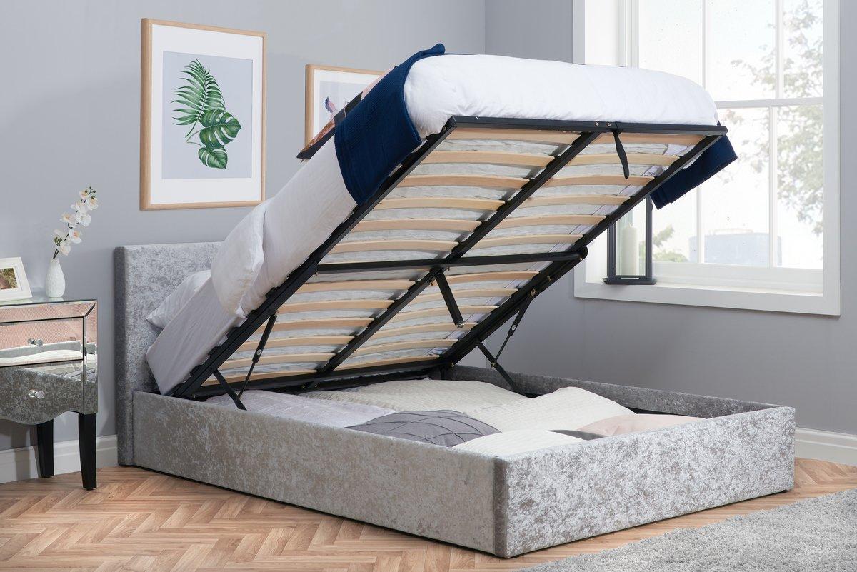 Crushed Velvet Upholstered Mia Bed Frame 3ft Single 4ft6 Double 5ft King Size