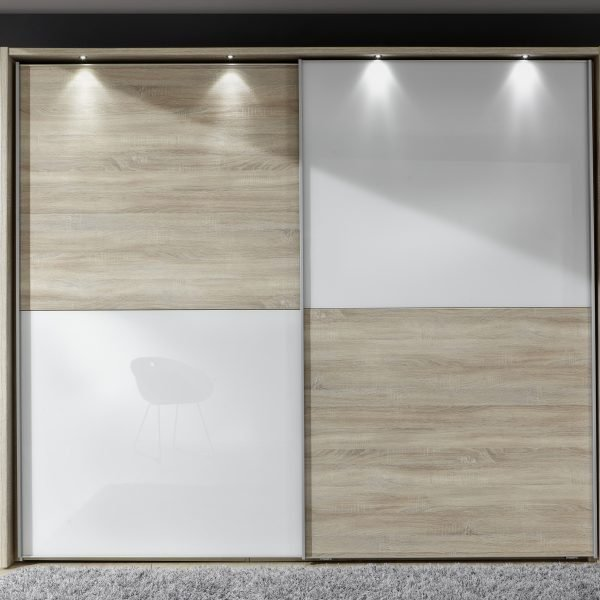 Berlin-2.5m-sliding-robe-in-white-glass-and-light-rustic-oak-quarters