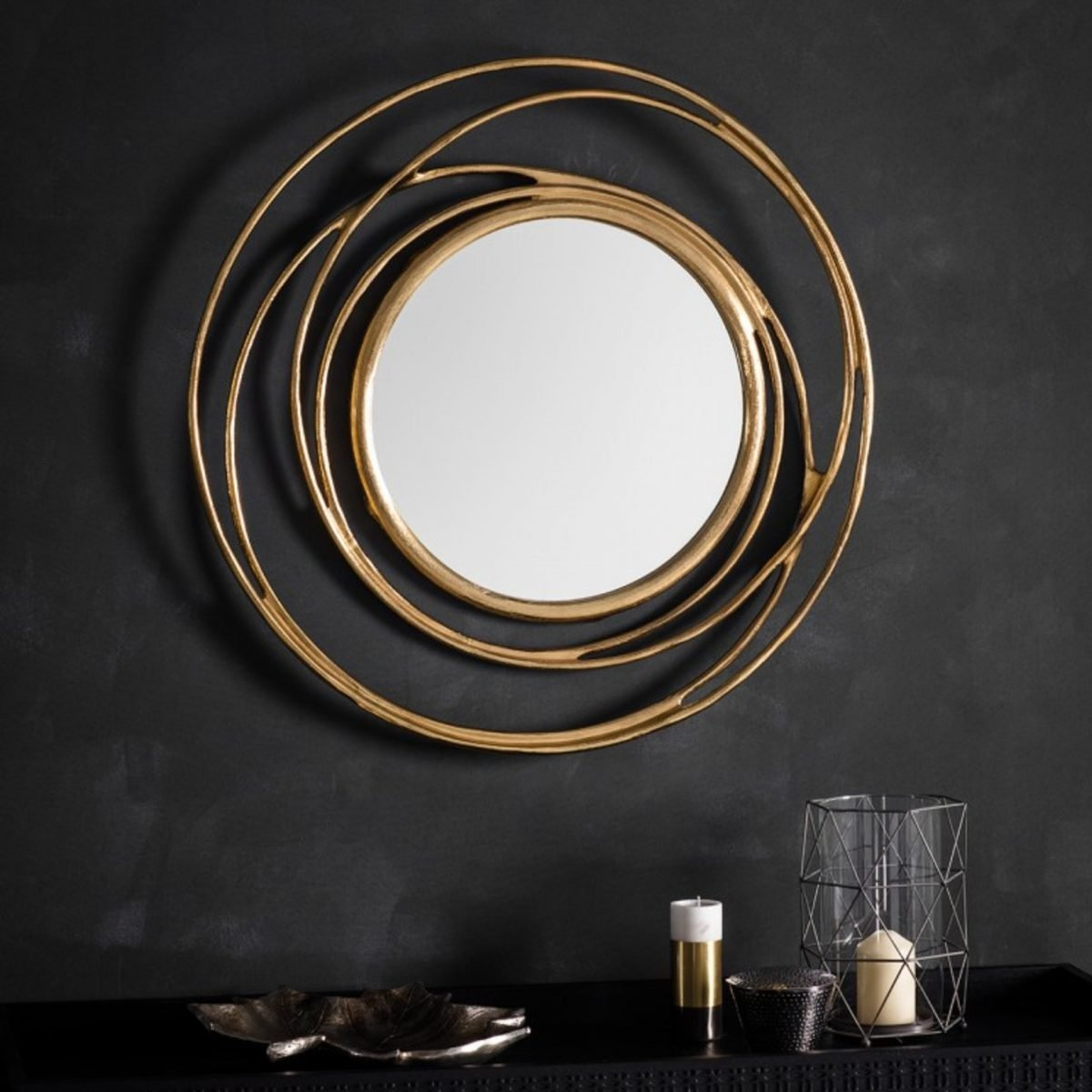 Satin Gold Finish Metal Round Swirl Wall Mirror Contemporary allende