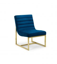 julian bowen blue velvet brushed gold chair frame