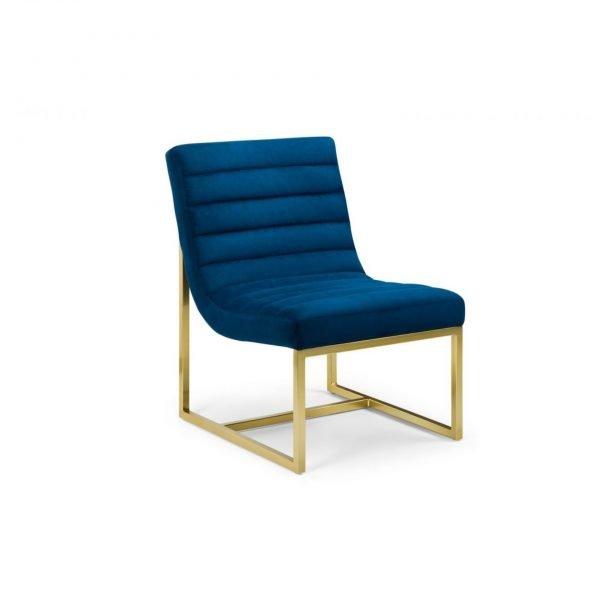 julian bowen blue velvet brushed gold chair frame