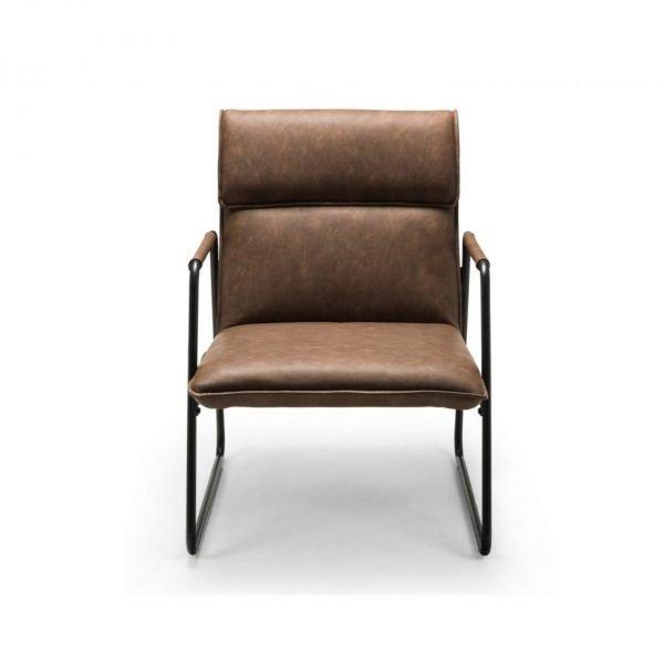 gramercy chair julian bowen faux leather black metal