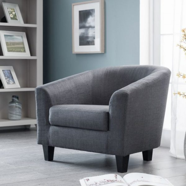 hugo fabric grey slate tub chair