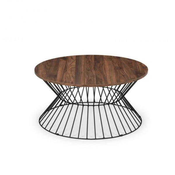 jersey round table oak walnut wire coffee table