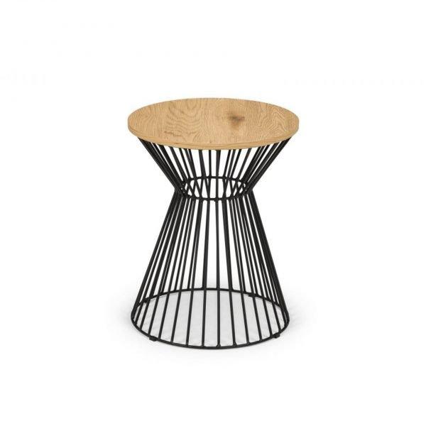 jersey round table oak walnut wire lamp table